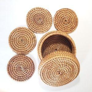 Other - Boho woven wicker drink coasters.